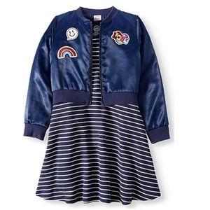 Wonder Nation Girls Dress & Bomber Jacket 2pc Set